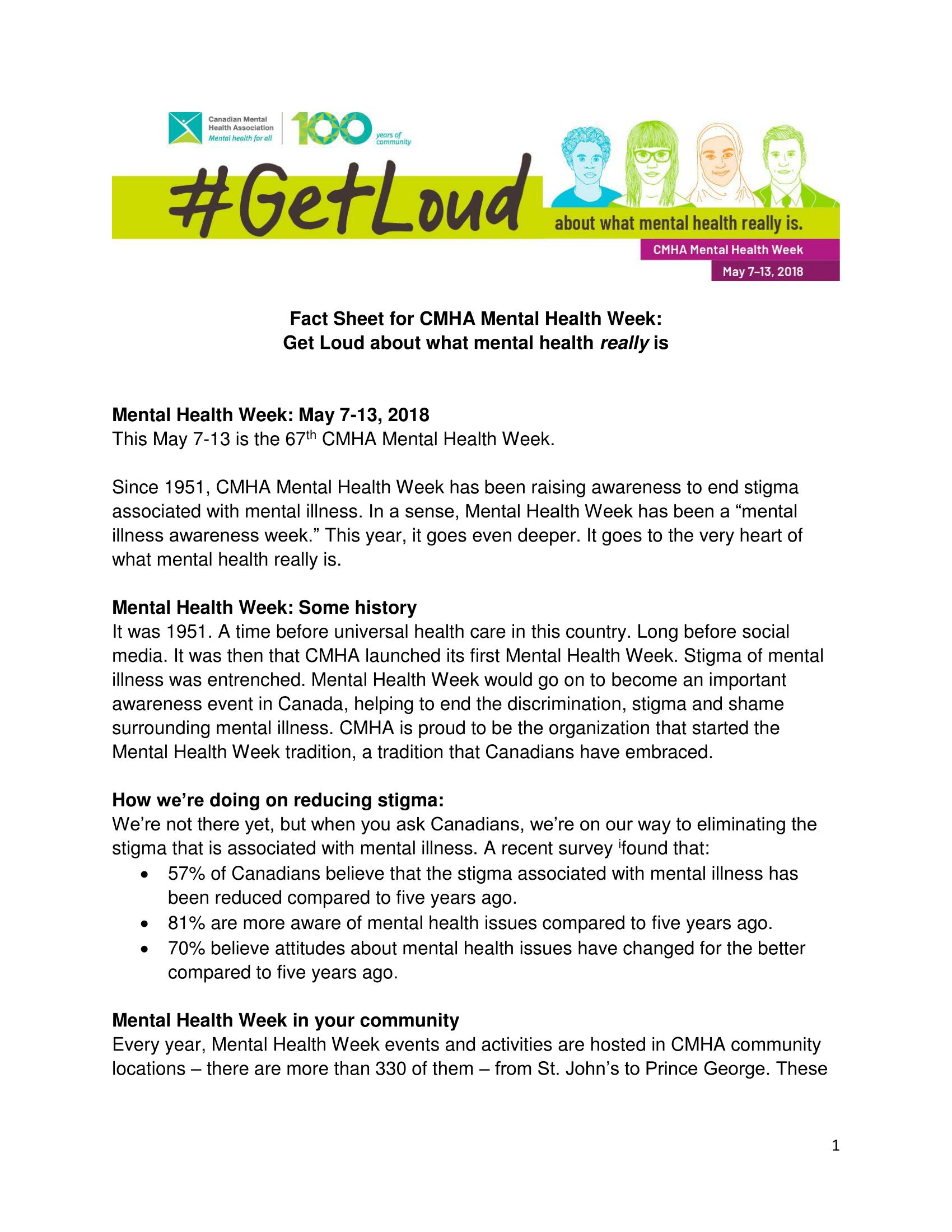Fact Sheet For Cmha Mental Health Week Canadian Mental Health